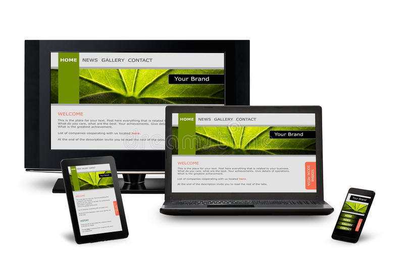 Responsive web design. On mobile devices phone, laptop and tablet pc