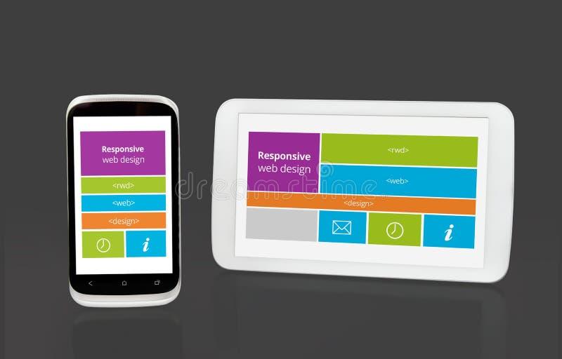 Responsive web design on mobile devices stock illustration