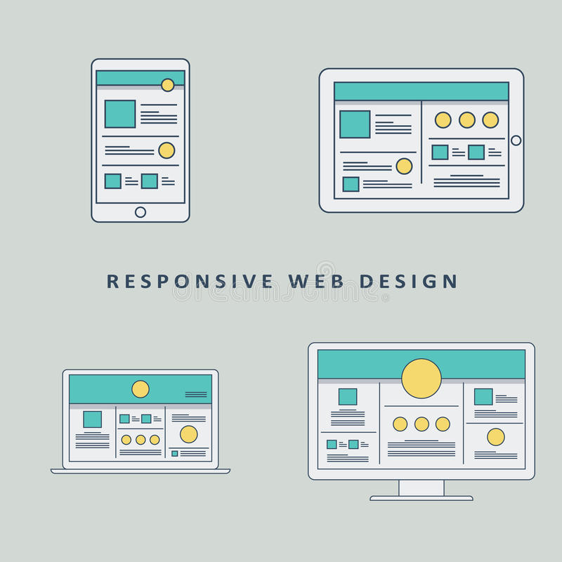 Responsive web design mockup template vector vector illustration