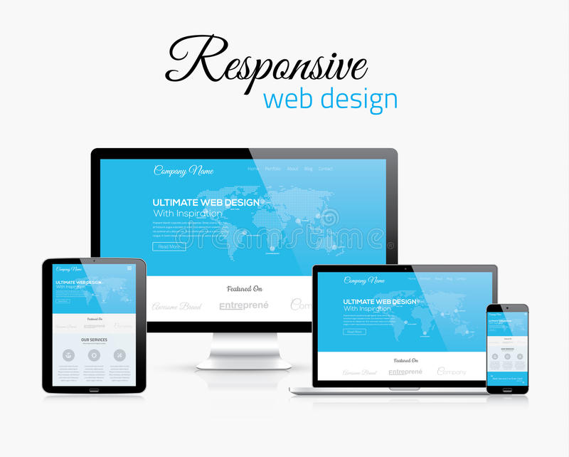Responsive web design in modern flat vector style concept image stock illustration