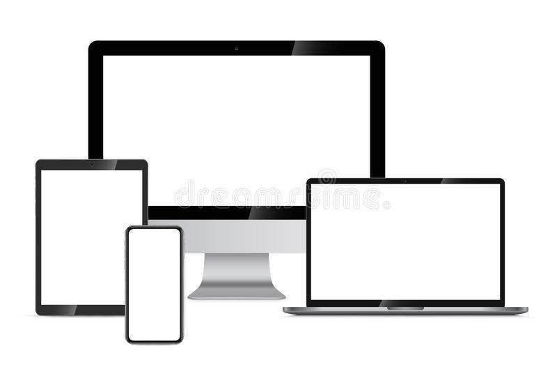 Responsive Web Design Presentation on Devices royalty free illustration