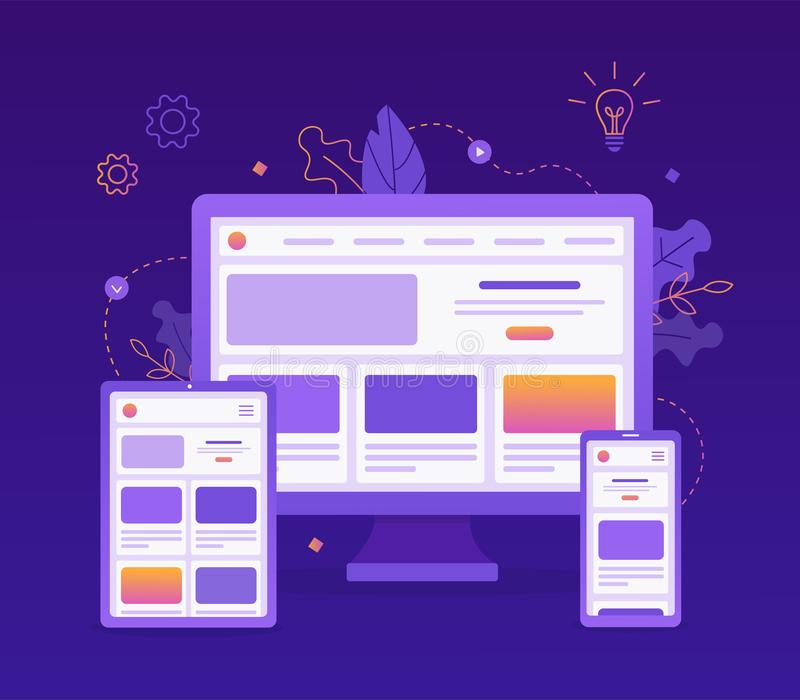 Responsive web design. Landing page is open on different devices: computer, tablet and smartphone. Flat vector illustration royalty free illustration