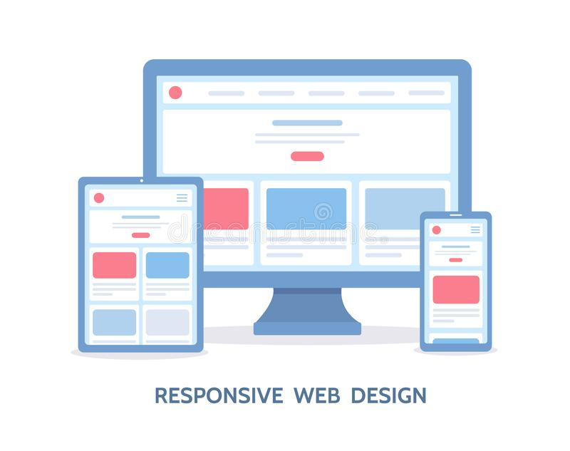 Responsive web design. The website is open on different devices: computer, tablet and smartphone. Flat vector illustration vector illustration