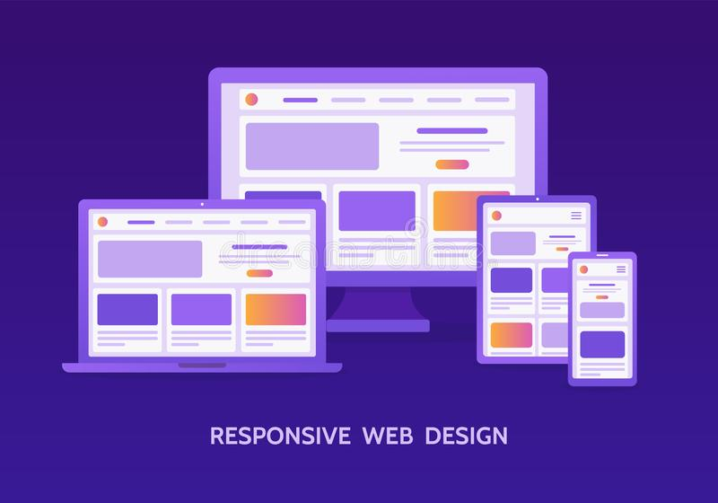 Responsive web design. The website is open on different screens: laptop, computer monitor, tablet and smartphone. Flat vector illustration stock illustration