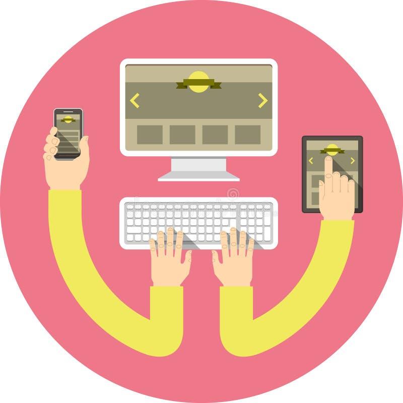 Responsive Web Design Round Concept Pink royalty free illustration