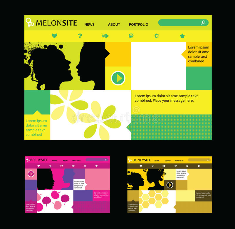 responsive web design templates in various colors stock vector