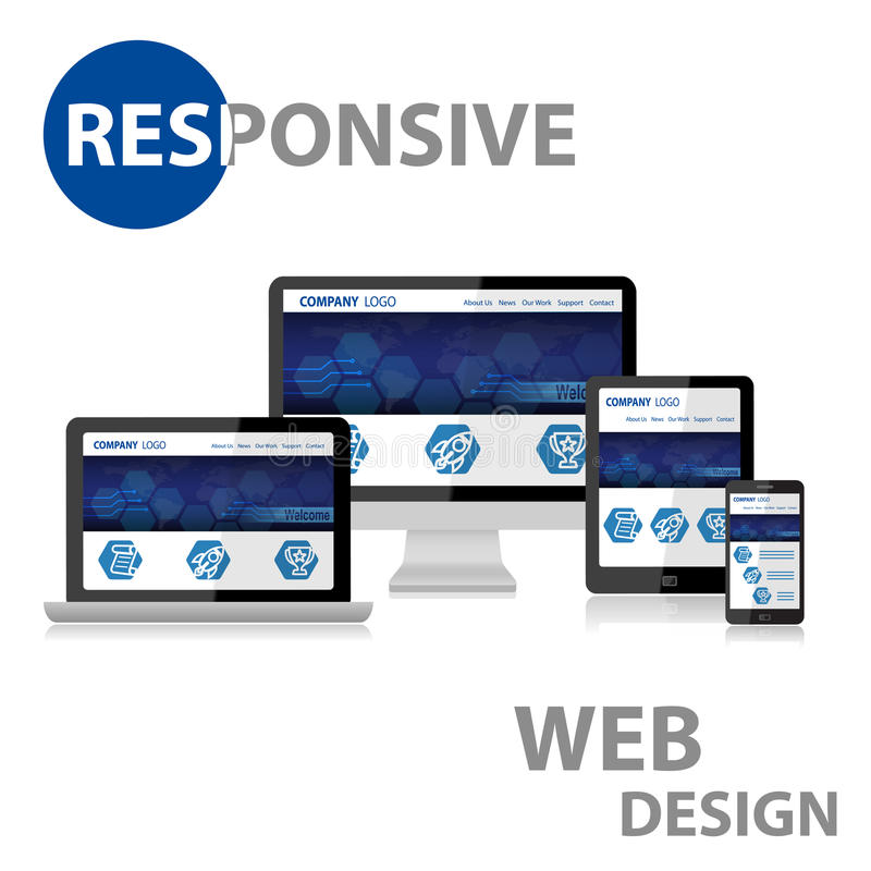 Responsive Web Design on Various Device. With reflection royalty free illustration