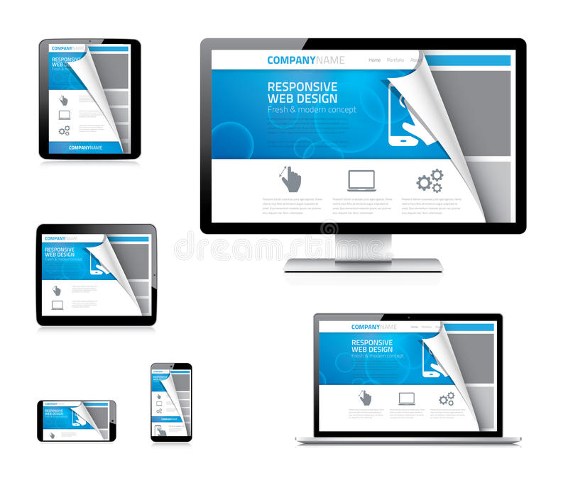 Responsive web design vector concept with curved p stock illustration