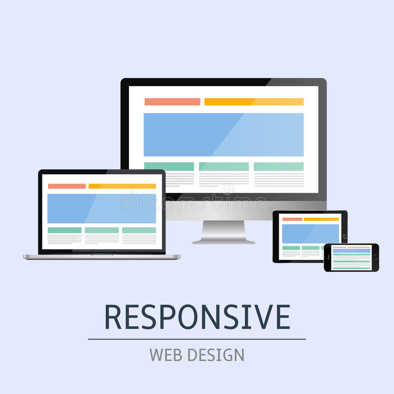 Responsive web design. Vector illustration of concept responsive web design on blue background stock illustration