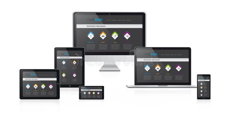 Responsive web design vector illustration with modern black website design royalty free illustration