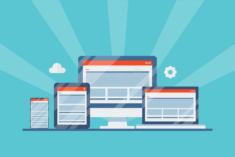 Responsive web design, website displaying on desktop, laptop, tablet and smartphone screen, digital device, flat design web banner. Modern concept of responsive vector illustration