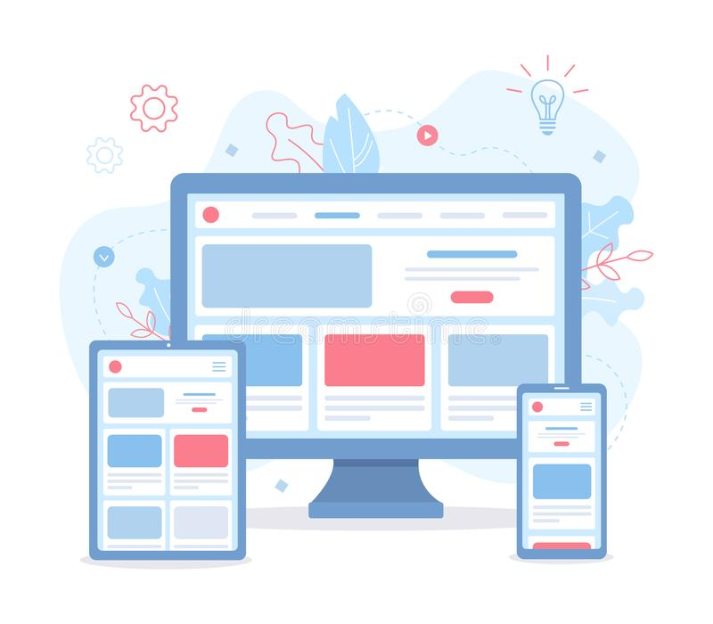 Responsive web design. The website is open on different devices: computer, tablet and smartphone. Responsive web design. Flat vector illustration vector illustration