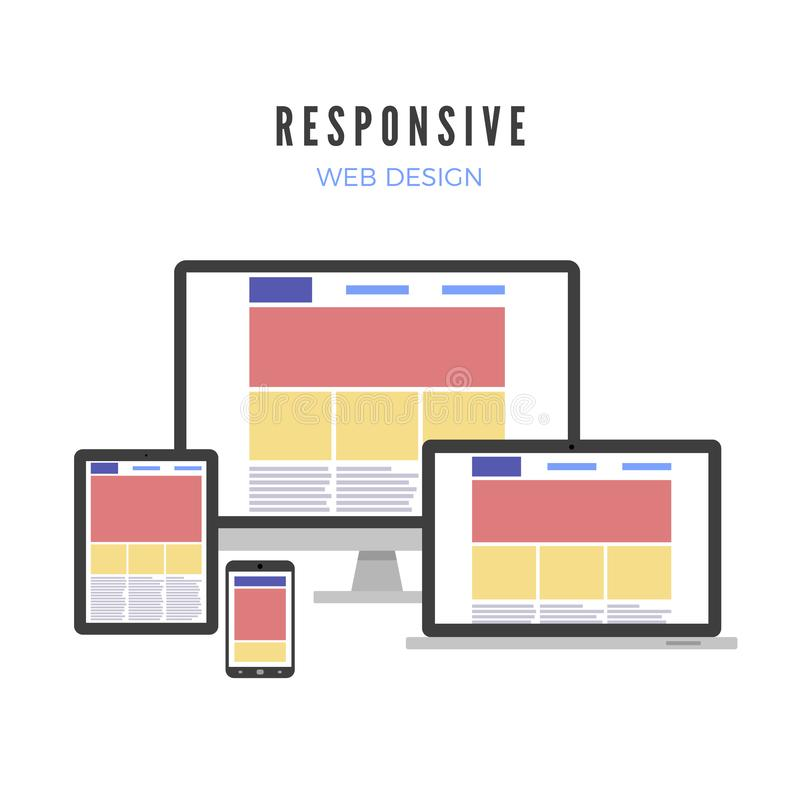 Responsive web design. Website template on different gadgets screen. Vector illustration stock illustration