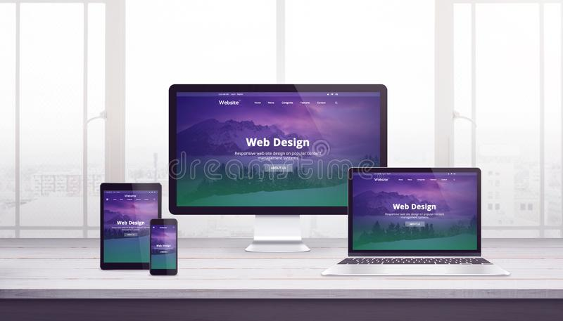 Responsive web site concept on multiple devices. Work desk with window in background royalty free illustration