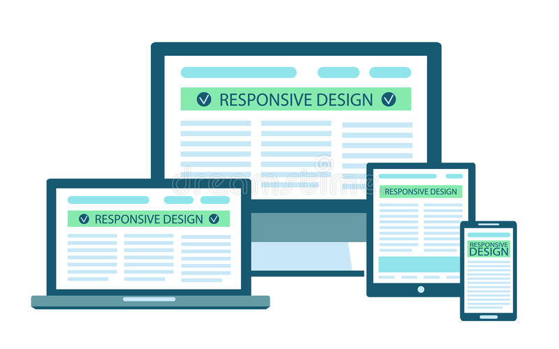 Responsive web site design flat concept in electronic devices: computer, laptop, tablet, mobile phone. stock illustration
