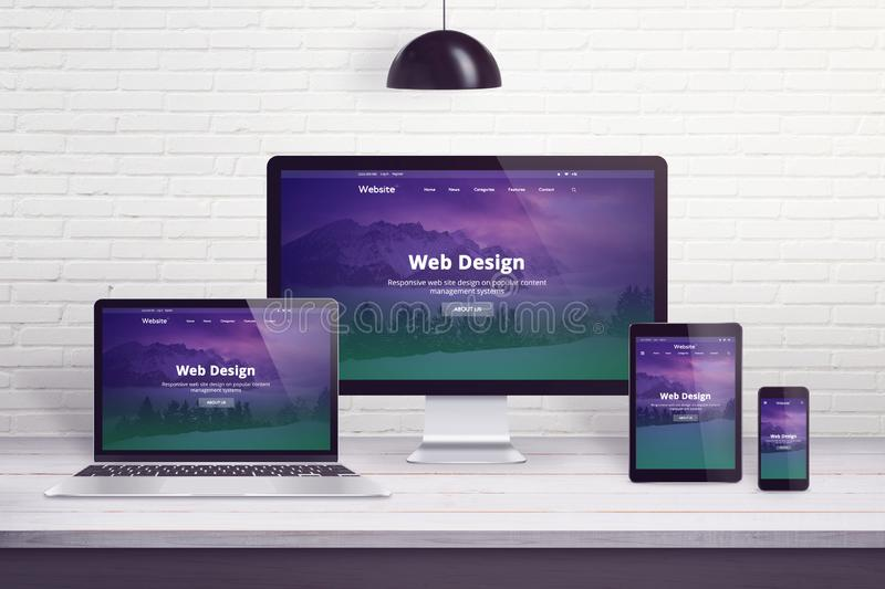 Responsive web site on multiple different display devices royalty free illustration