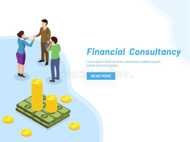 Responsive web template design for Financial Consultancy concept. Miniature lady consultant providing monetary solutions to business people royalty free illustration
