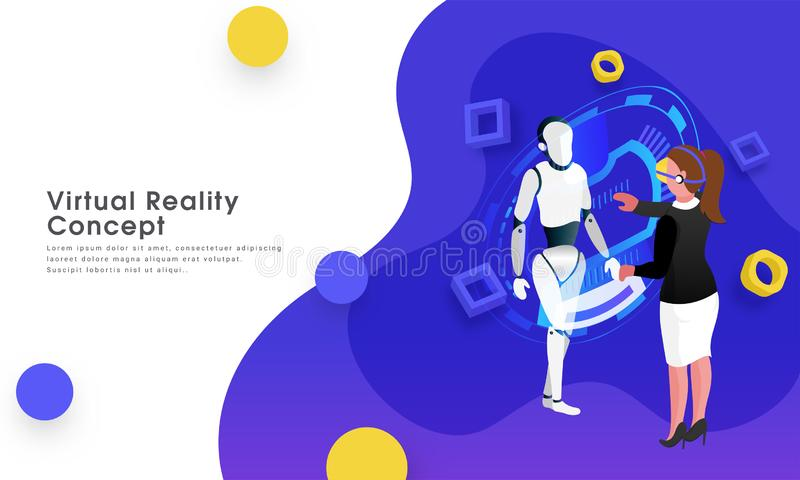 Responsive web template design, girl management data process of a humanoid robot through VR glasses for virtual reality. Responsive web template design, girl royalty free illustration