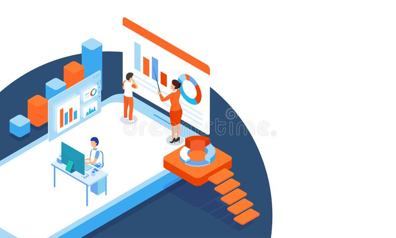 Responsive web template design with isometric bar graph, miniature business people on smartphone screen, analyst analysis the dat. A for business or management royalty free illustration