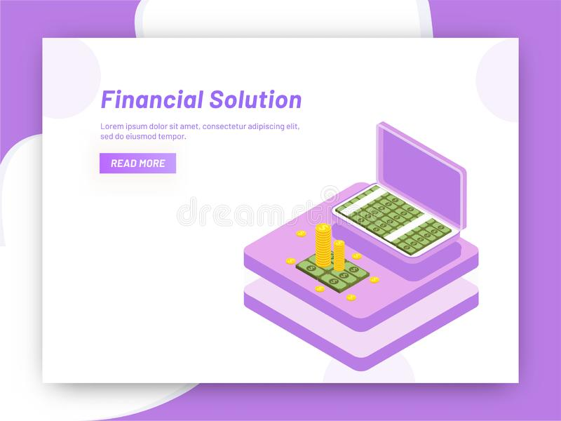 Responsive web template design, isometric coins with briefcase f. Ull of banknotes for Financial Solution concept vector illustration