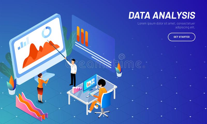 Responsive web template design with isometric illustration of mi. Niature business people or analyst, analysis data on desktop for business growth or data vector illustration