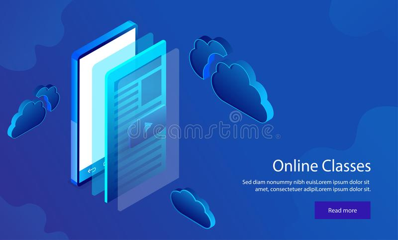 Responsive web template design with isometric illustration of sm. Artphone with video play window on shiny blue background for Online Classes concept vector illustration