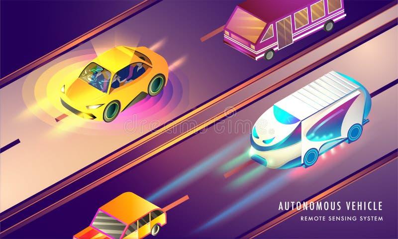 Responsive web template design, isometric illustration of smart. Vehicle on urban landscape background for Autonomous Vehicle with Remote Sensing technology stock illustration