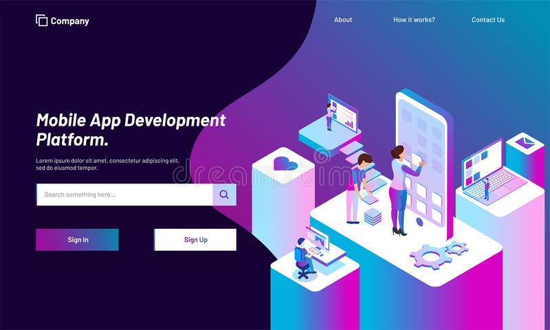 Responsive web template design with isometric view of working pe. Ople, download or develop application in smartphone for Mobile App Development concept vector illustration