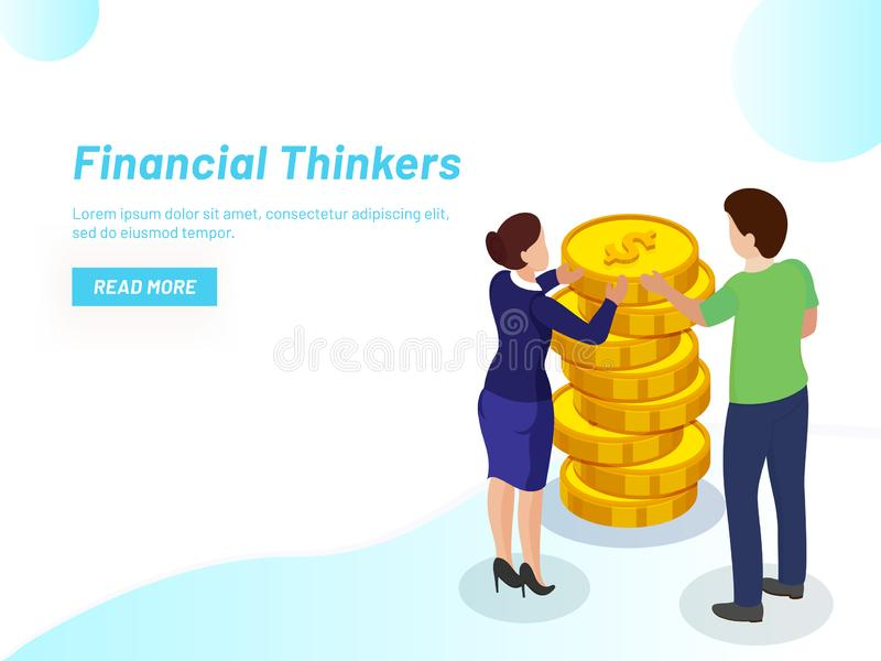Responsive web template design, Lady advisor providing financial. Support to businessman for betterment of his company for Financial Thinker concept based stock illustration