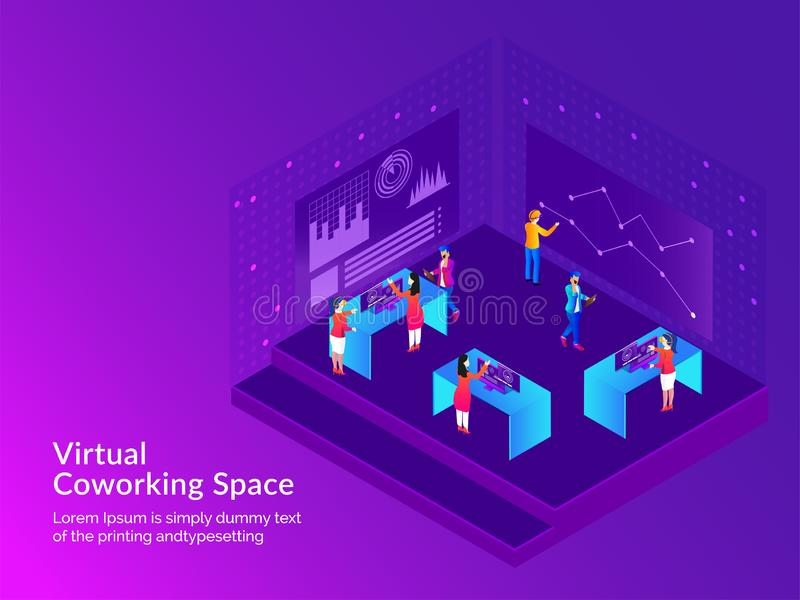 Responsive web template design, miniature business people analysis data or performing task together for Virtual Co-Working Space. Concept royalty free illustration