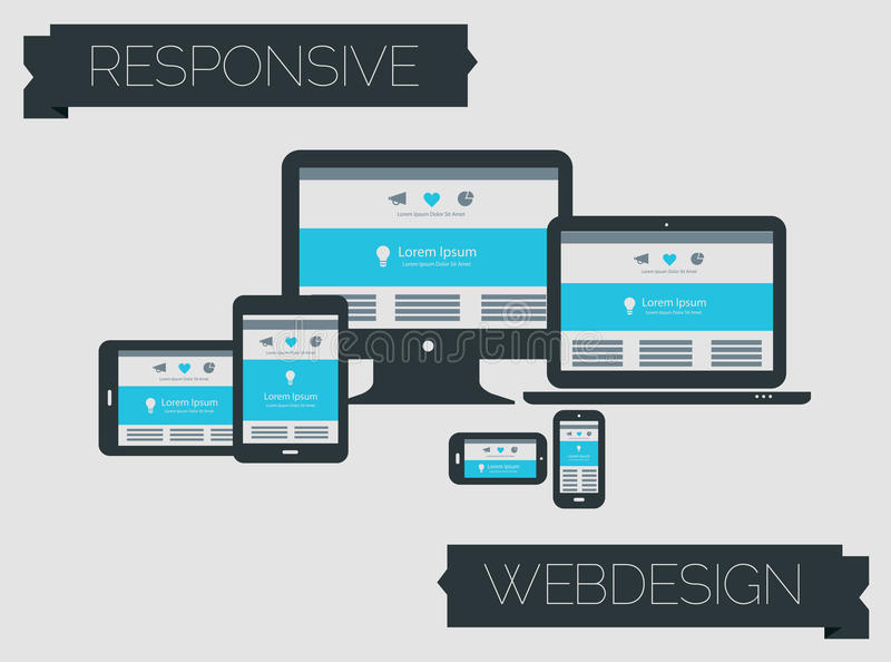 Responsive webdesign technology page design. Flat style responsive webdesign technology on light gray background royalty free illustration