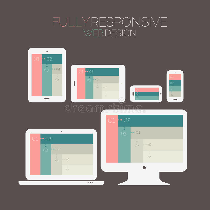 Responsive webdesign technology page design. Flat style responsive webdesign technology template on dark background stock illustration