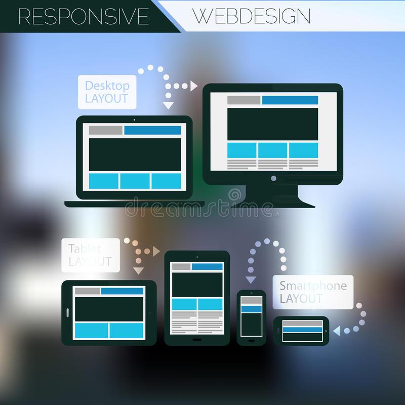 Flat Style Responsive Webdesign Technology Stock Vector: Responsive Webdesign Technology Page Design Stock Vector