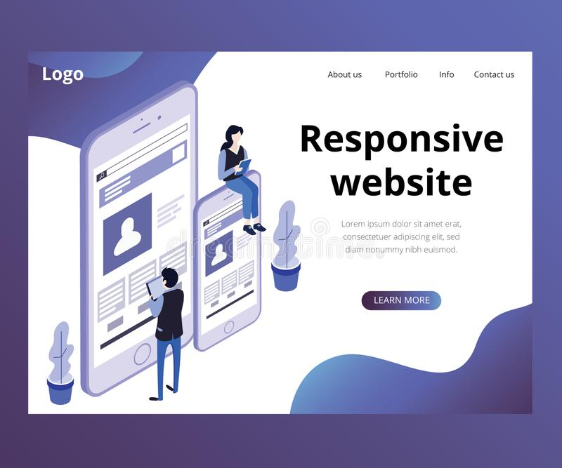 Responsive Website of a Business Isometric Artwork Concept vector illustration