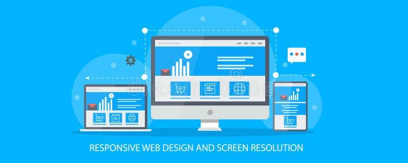 Responsive website design compatible to laptop, pc, tablet and mobile. Cross device web design concept. Flat banner. Concept of responsive web design, website vector illustration