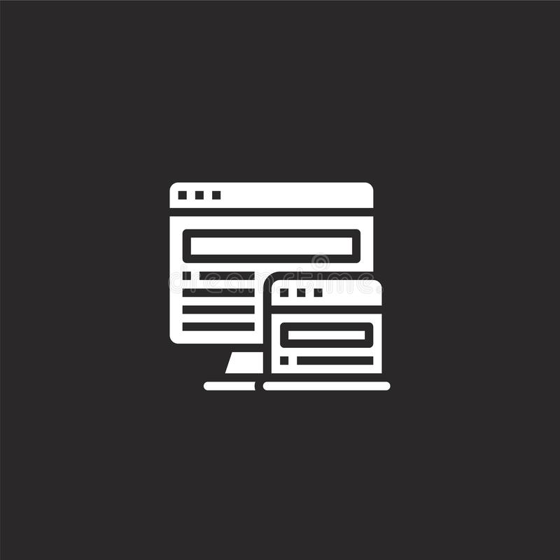 Responsive website icon. Filled responsive website icon for website design and mobile, app development. responsive website icon. From filled seo collection royalty free illustration