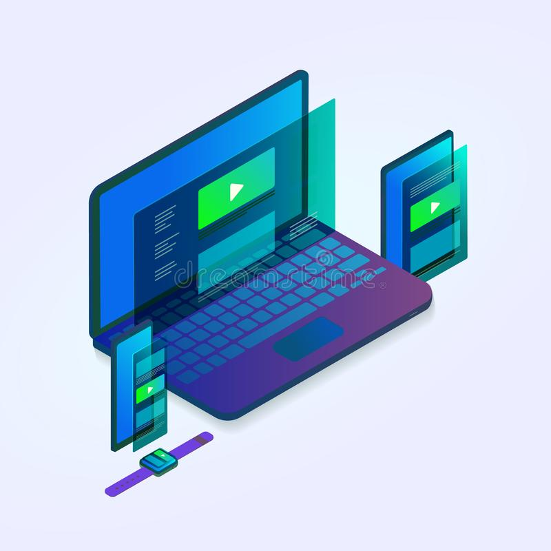 Free Responsive Website Isometric 3D Design Electronic Devices - Laptop, Tablet, Mobile Smartphone, Smart Watch. Adaptive Web Design Stock Photo - 149702390