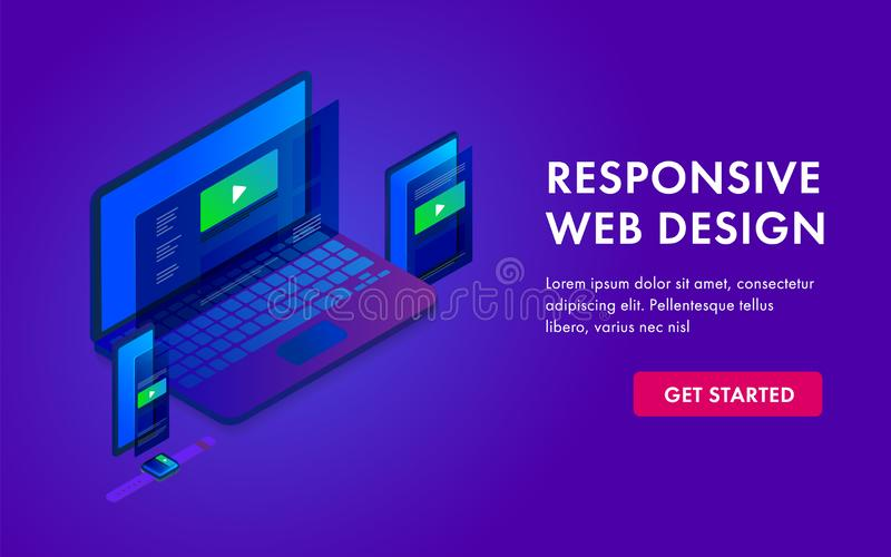 Responsive website isometric 3D lending template page in electronic devices - laptop, tablet, smartphone, smart watch. stock illustration