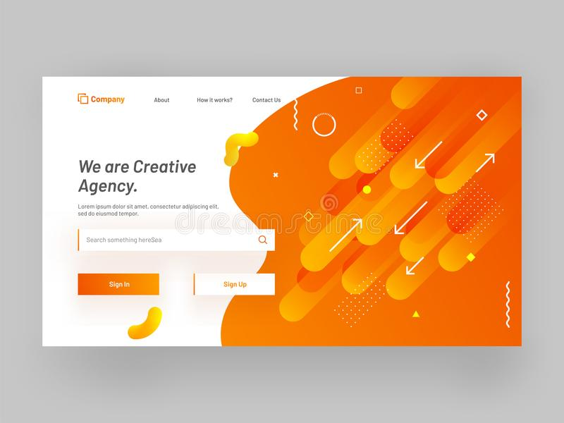 Responsive website or mobile app landing page with geometrical a. Bstract design for creative agency concept stock illustration