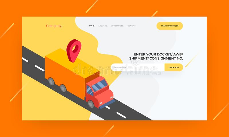 Responsive website template or hero banner design with mappin an. D delivery truck illustration for shipping concept vector illustration