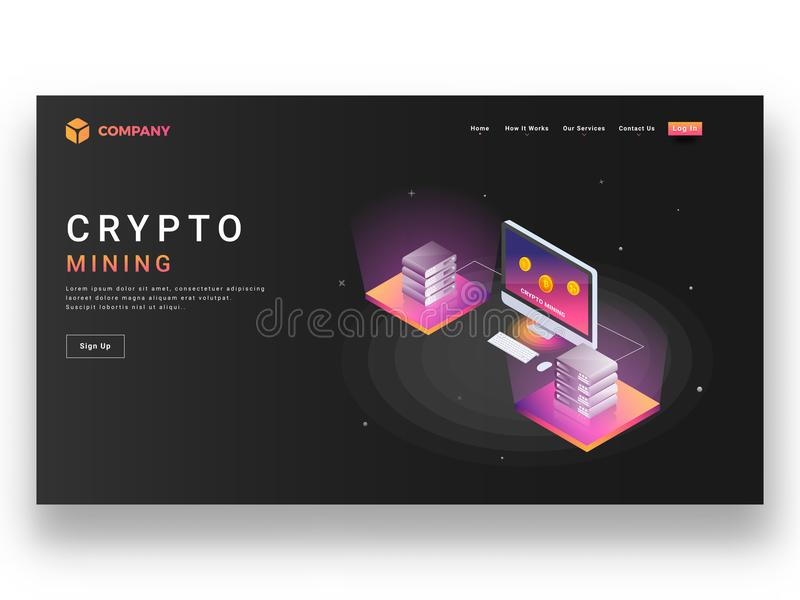 Responsive website template or landing page design with isometric view of desktop and servers for crypto mining concept. royalty free illustration