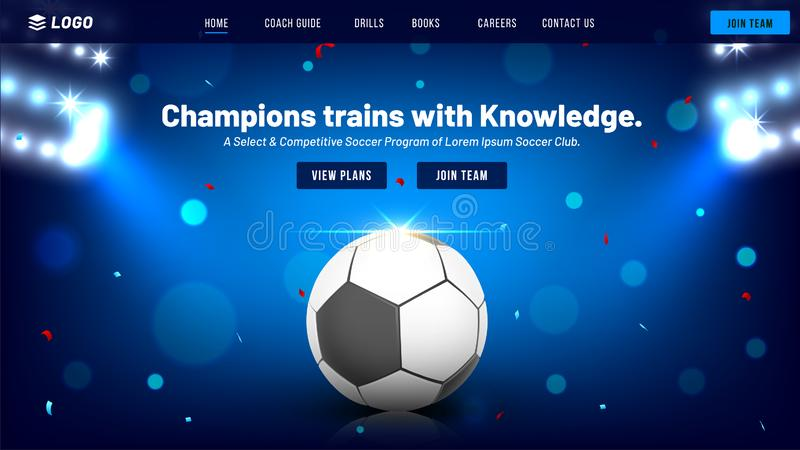 Responsive website template or landing page. Responsive website template or landing page for Football Championship concept vector illustration