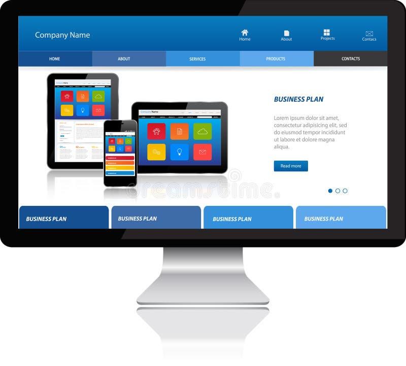 Responsive website template on modern computer. Computer monitor stock illustration