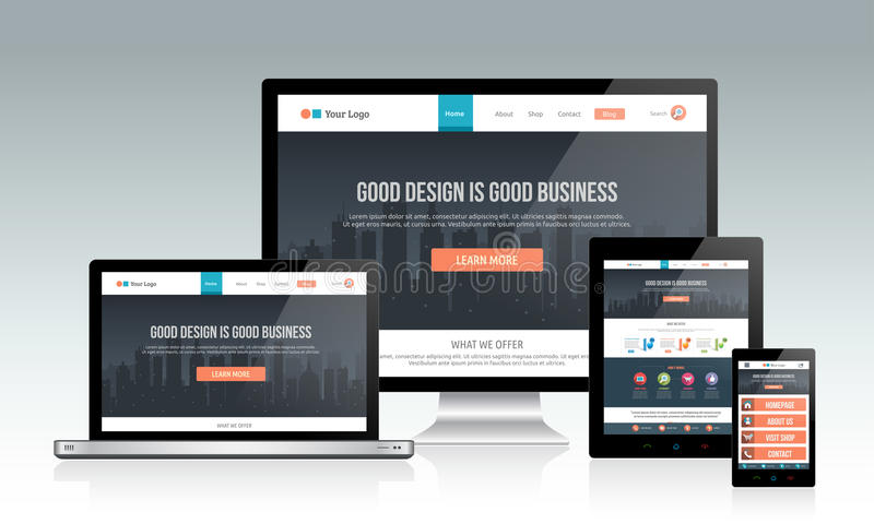 Responsive website template on multiple devices stock illustration