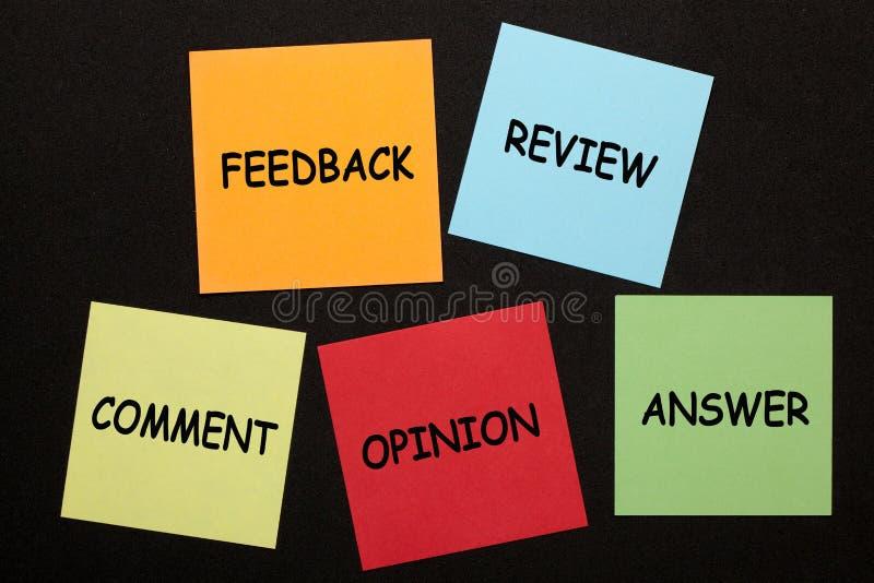 Resposta da opinião do comentário da revisão do feedback fotografia de stock