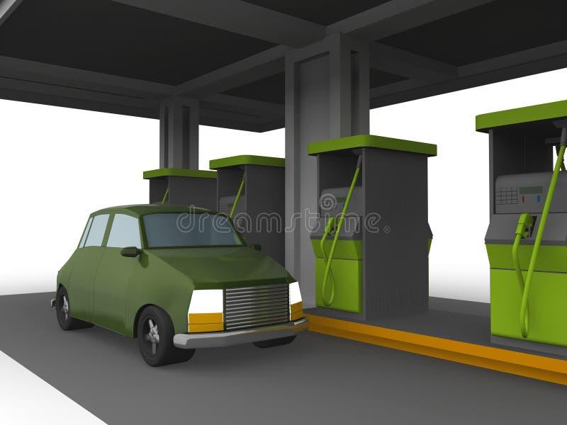respresentação 3D de um carro em uma estação do combustível ilustração stock