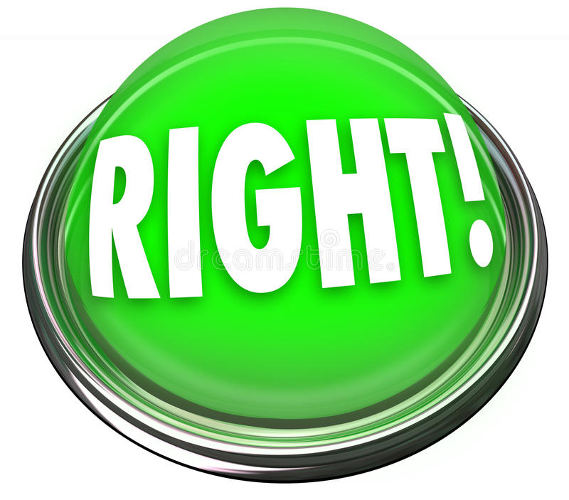 Respuesta correcta que destella ligera del botón verde derecho ilustración del vector