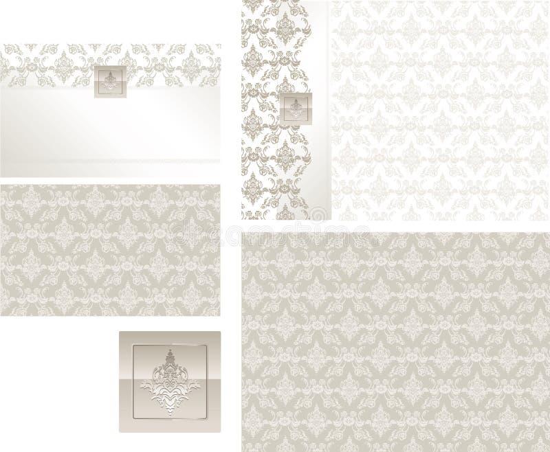 Respuesta del brocado y ejemplo clásicos de la tarjeta del lugar ilustración del vector