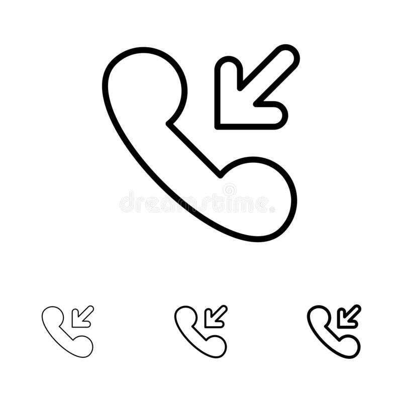 Respuesta, llamada, línea negra intrépida y fina entrante sistema del icono ilustración del vector