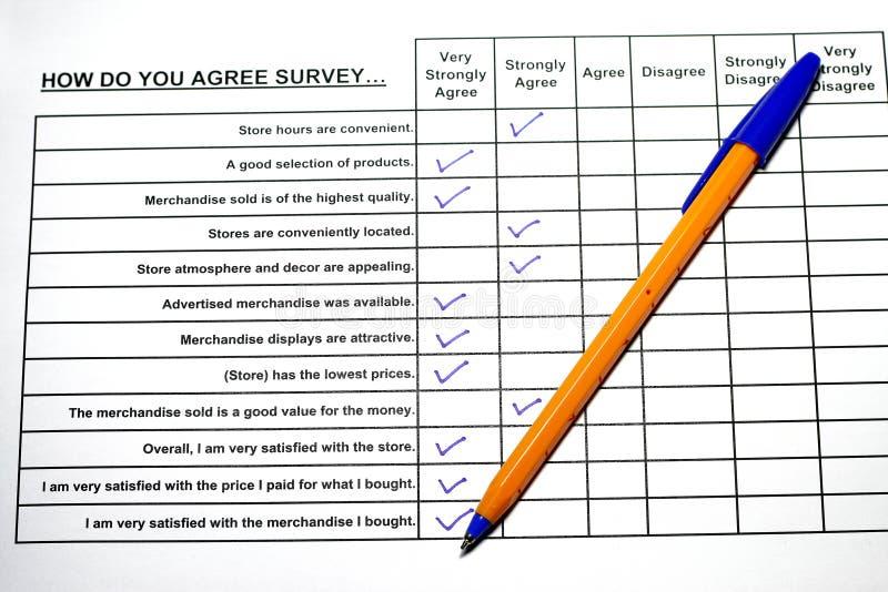 Respuestas de la encuesta imagen de archivo